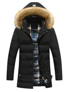 Faux Fur Hood Winter Puffer Coat - Black 3xl