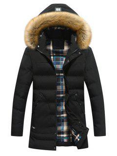 Faux Fur Hood Winter Puffer Coat - Black L