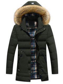 Faux Fur Hood Winter Puffer Coat - Green L