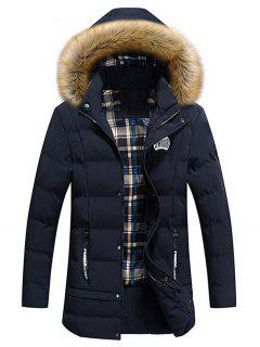 Faux Fur Trim Winter Hooded Coat - Blue Xl