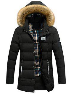 Faux Fur Trim Winter Hooded Coat - Black Xl