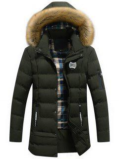 Manteau D'Hiver à Capuche Détachable Avec Bordure En Fausse Fourrure - Vert L