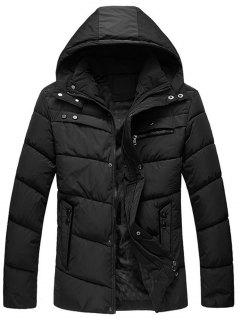 Zip Up Closure Winter Padded Jacket - Black 4xl