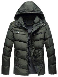 Zip Up Closure Winter Padded Jacket - Green L