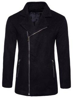 Asymmetric Zip Notch Lapel Fleece Jacket - Black 2xl