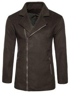 Asymmetric Zip Notch Lapel Fleece Jacket - Brown S