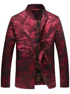Dragon Printed Vintage Chinese Jacket - Red Xl