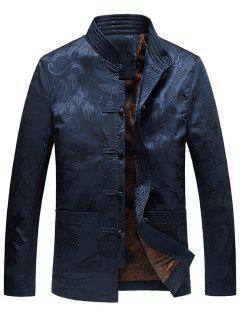 Dragon Printed Vintage Chinese Jacket - Blue 2xl