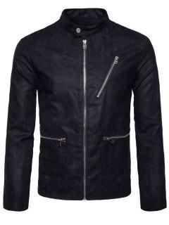 Stand Collar Zip Up Faux Suede Jacket - Black Xl