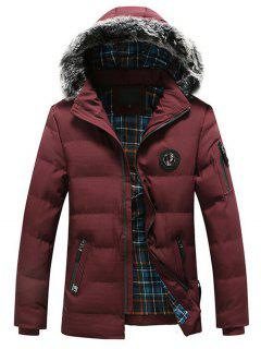 Faux Fur Trim Chest Patched Padded Jacket - Red 3xl