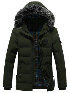 Faux Fur Trim Chest Patched Padded Jacket - Green 3xl