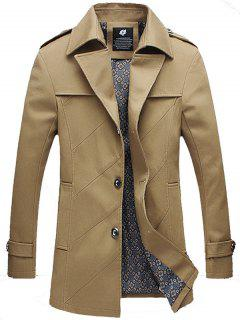 Epaulet Design Single Breasted Turndown Collar Jacket - Khaki 3xl