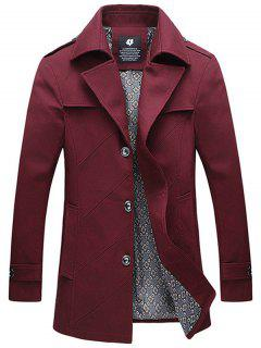 Epaulet Design Single Breasted Turndown Collar Jacket - Burdeos L