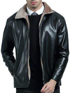 Zip Up Fleece Lining PU Leather Jacket - Black 3xl