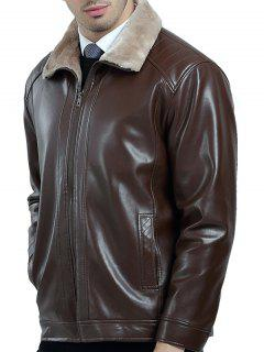 Zip Up Fleece Lining PU Leather Jacket - Brown L