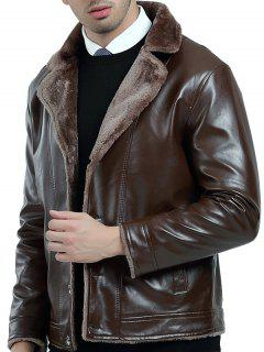 Turndown Collar Fleece PU Leather Jacket - Brown 4xl
