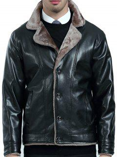 Turndown Collar Fleece PU Leather Jacket - Black Xl