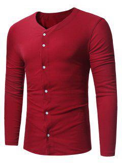 Camiseta De Manga Larga Con Cuello En V Y Manga Larga - Vino Rojo L