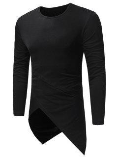 Crew Neck Long Sleeve Longline Asymmetric T-Shirt - Black L