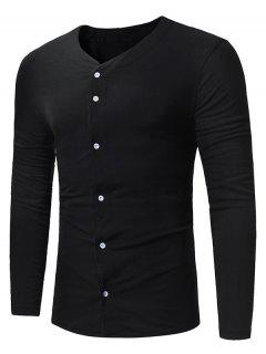 V Neck Button Up Long Sleeve T-shirt - Black Xl