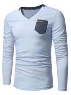 V Neck Pocket Embellished Long Sleeve T-shirt - White Xl