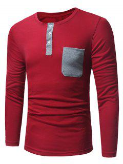 T-Shirt Henley à Manches Longues Col Ras De Cou Avec Poche - Rouge M