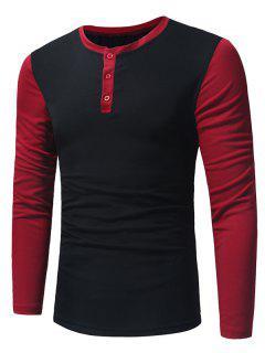 T-Shirt Henley à Manches Longues Col Ras De Cou Avec Empiècement De Couleurs - Noir M