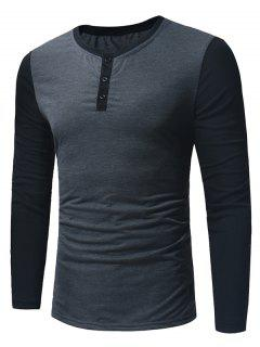 Crew Neck Color Block Panel Henley T-Shirt - Deep Gray L