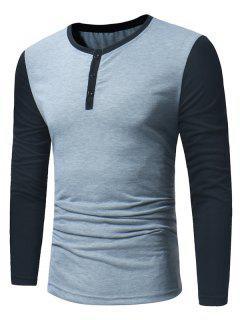 Crew Neck Color Block Panel Henley T-Shirt - Light Gray M