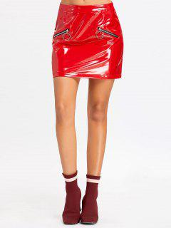 Faux Leather Zippers Mini Skirt - Red L