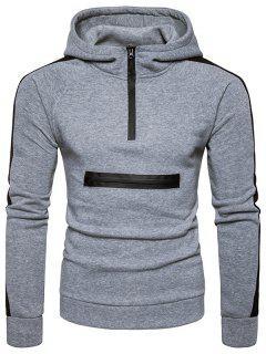 Color Block Panel Zippers Fleece Pullover Hoodie - Light Gray L