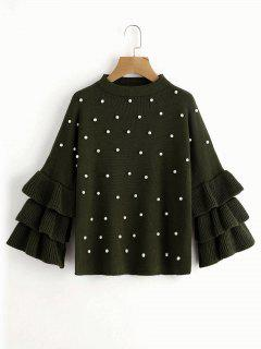 Layered Sleeve Faux Pearls Sweater - Army Green