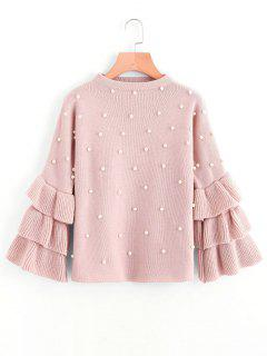 Layered Sleeve Faux Pearls Sweater - Pink