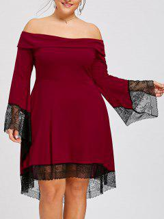 Plus Size Lace Trim Off The Shoulder Dress - Red Xl