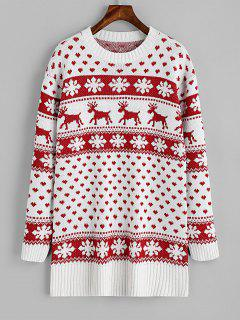 Elk Heart Christmas Sweater - Red And White M