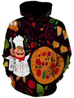Pizza Gourmet Printed Pullover Hoodie - 3xl