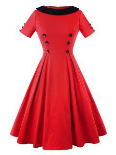 Vintage Two Tone Button Embellished A Line Dress - Red 2xl