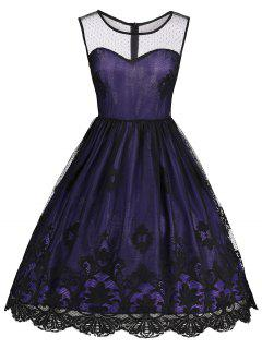 Robe Vintage Sans Manches Festonnée En Dentelle - Violet Foncé Xl