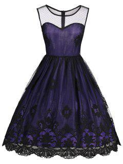 Vestido Festoneado Vintage De Encaje Sin Mangas - Morado Oscuro 2xl