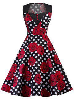 Vintage Floral Print Polka Dot Pin Up Dress - Black 2xl