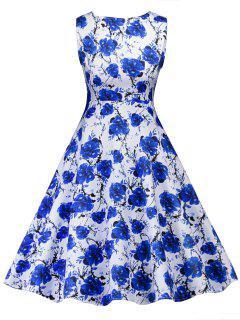 Robe Rétro à Imprimé Floral - Bleu Xl