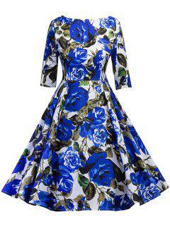 Robe Pin Up Vintage De Fête Imprimé Floral - Bleu M