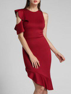 One Sleeve Ruffle Asymmetrical Mermaid Dress - Red Xl