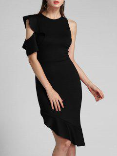 One Sleeve Ruffle Asymmetrical Mermaid Dress - Black S