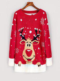 Elk Snowfakes Pullover Christmas Sweater - Red L