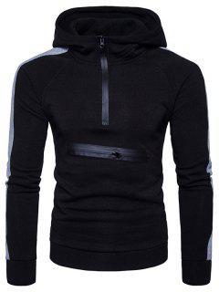 Color Block Panel Zippers Fleece Pullover Hoodie - Black L
