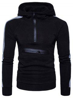 Color Block Panel Zippers Fleece Pullover Hoodie - Black S