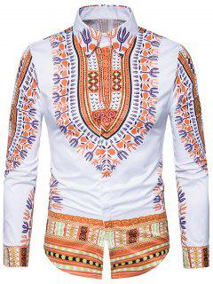 Ethnic Style Dashiki Print Long Sleeve Shirt - Yellow Xl