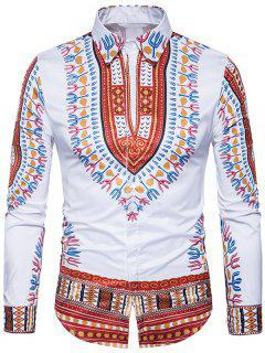Ethno-Stil Dashiki Print Langarm-Shirt - Weinrot 3xl