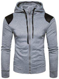 Hooded PU Leather Panel Zip Up Hoodie - Light Gray Xl